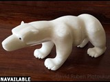 "Bear Man 2016 Italian crystal alabaster, black pearl stone height: 8"" length: 18"" depth: 7"""