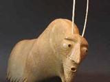 Musk-Ox Woman (2004) Soapstone, Inlay Eye, Antler Horn
