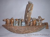 Voyage of the Spirit-Helpers (2002) Brazilian Soapstone, Caribou Antler  with inlay (Black Soapstone)